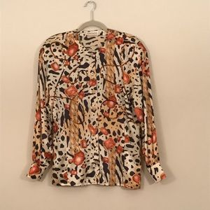 Escada animal and gem print blouse with sequins